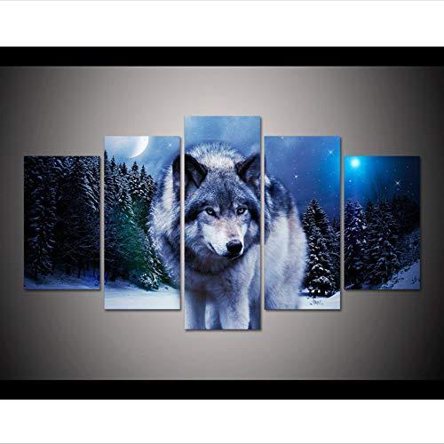 hhlwl HD gedruckt Wolf Pack Schnee Tier Malerei auf Leinwand Wand Kunst drucken Wohnkultur Wandkunst Malerei für Wohnzimmer Dekor-40x60/80/100cm-no frame