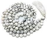 Howlite Japa Mala 108 perles de 8 mm de large, avec noeuds entre les deux, plus 1 grosse perle de gourou, 40 pouces de longueur, avec de vraies pierres précieuses