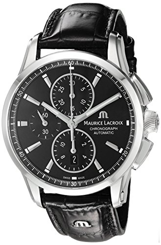 Maurice Lacroix Men's Analog Swiss-Automatic Watch with Leather-Crocodile Strap PT6388-SS001-330-1