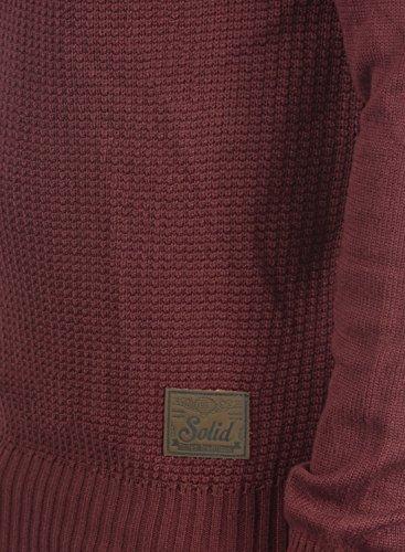 !Solid Terrance Herren Strickpullover Feinstrick Pullover Mit Rundhals und Knopfleiste, Größe:XL, Farbe:Wine Red Melange (8985) - 4