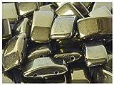 15 Stück Carrier Bead - Tschechische gepresste Glasperlen in Form von Kissen 9x17 mm, zwei Löcher, Jet Red Luster (Dark Green Metallic)