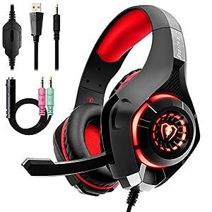 Auriculares Gaming Premium Stereo con Microfono para PS4 PC Xbox one, Cascos Gaming con Bass Surround Cancelacion ruido,Diadema Acolchada y Ajustable,Microfono Unidireccional, (Tiene un adaptador)