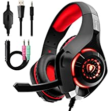 Auriculares Gaming Premium Stereo con Microfono para PS4 PC Xbox one, Cascos Gaming con Bass