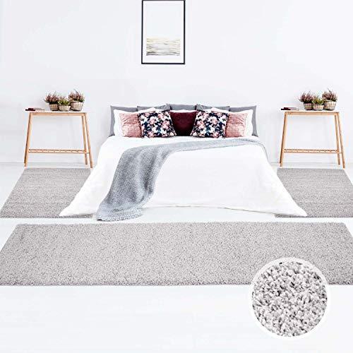 Teppich Shaggy Hochflor Langflor Einfarbig Grau Öko Tex Bettumrandung 2x 80x150 & 1x 80x300