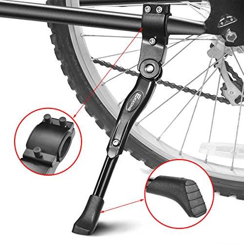 EKKONG Fahrradständer, Gute Qualität Schwarze Einstellbarer Universal Aluminiunlegierung Fahrrad Ständer Hinterbauständer Fahrrad Seitenständer Mountainbike Ständer mit Anti-Rutsch Gummifuß