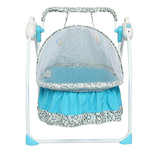 NWYJR Baby Wippe einstellbar Neugeborenen Vibration beschwichtigen bequem elektrische Multifunktions faltbare Musik Swing Babywippe , blue