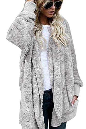 Les Femmes Élégantes Hiver Fuzzy Le Avant Ouvert Cardigans Vêtements Vestes Coûts Grey