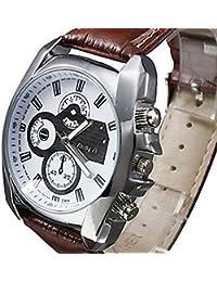 Banda de cuero de plata del caso YPS nuevos hombres de cuarzo analógico reloj de pulsera WTH1009