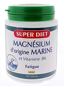 Super diet - Magnésium d'origine marine + vitamine b6 - 150 gélules - Aide précieuse du système ner