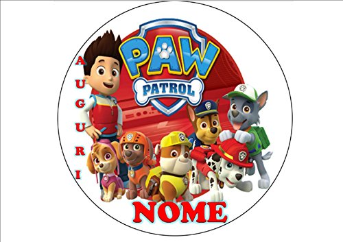 Paw Patrol Marshall Chase Skye à Dosette en Ostia pour gâteau personnalisable - Kit N ° 11 CDC- (1 à Dosette en Ostia taille feuille A4 210 x 297 mm)