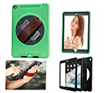 3C-LIFE 5-IN-1 iPad Rugged Case, Multiple Layer Full-body Tough Shockproof/Dustproof Armor Case with Stand/Strap/Screen Protector for iPad 2017/iPad5 A1822 A1823 [Green]