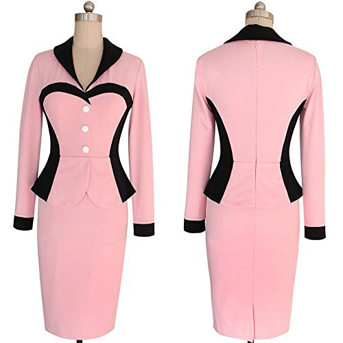 Minetom Femmes Col V Twinset Robe Faux Slim Aménagée Robe Crayon Travail Pencil Bodycon Party Cocktail pink