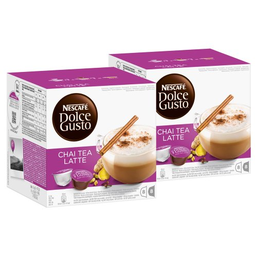 Nescafé Dolce Gusto Chai Tea Latte, Tee, Teekapsel, 2er Pack, 2 x 16 Kapseln (16 Portionen) (Dolce Gusto Chai-tee Kapseln)