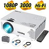 VicTsing Mini Proyector Portatil de Cine en Casa con 3000 Lumenes y 170' Pantalla, Soporte Full HD 1080P, Proyector de Video, Compatible con TV Stick, Portátil, HDMI/VGA/SD/AV/USB