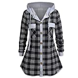 Shirt Damen Vintage Plaid Pocket Hooded Tops Damen Plus Size Tops Hooded Button Bluse Kariertes Hemd Revers Langarm Sweatshirt L-5XL -