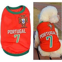 Ropa para Perros Pequeños, Jersey Chaleco Deportes Suave Transpirable del Perros Gatos Cachorros Camisa del Animal Doméstico de Fútbol Copa del Mundo para Verano Al Aire Libre -Portugal,M