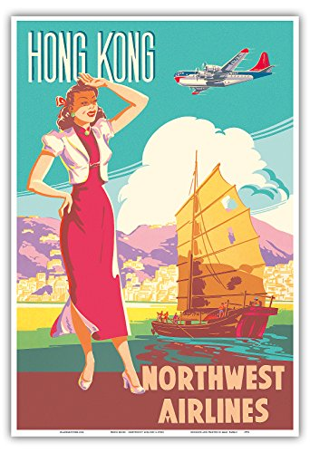 hong-kong-northwest-airlines-boeing-377-stratocruiser-chinese-junk-vintage-airline-travel-posterc195