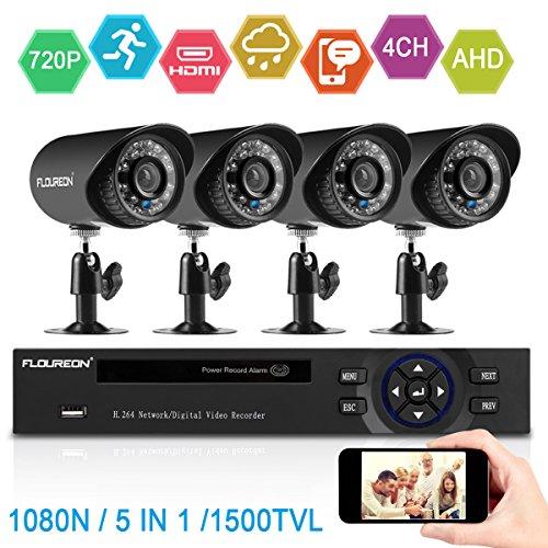 FLOUREON Videoüberwachung 4CH AHD 1080N TVI DVR Recorder + 4X 1500TVL 1.0MP Überwachungskamera Outdoor Wasserdichte Sicherheitskamera P2P Bewegungsmelder