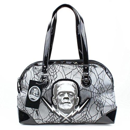 Handtaschen Horrorfilm (Frankenstein Damen Gothic Handtasche - Spider Lace Silber Henkeltasche Lack und Spitze)
