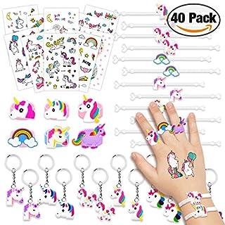 Amteker 40pcs Party Bag Fillers for Kids - Unicorn Gifts for Girls, Unicorn Pinata Fillers, Unicorn Party Supplies Toys Include Unicorn Keyring Bracelet Ring Temporary Tattoo for Children