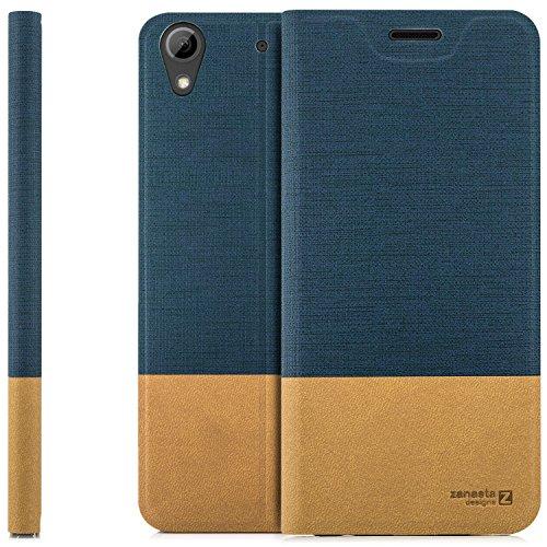 zanasta Designs Tasche HTC Desire 628 Dual Sim Hülle Flip Case Slim Schutzhülle Handytasche mit Kartenfach, Standfunktion | Blau