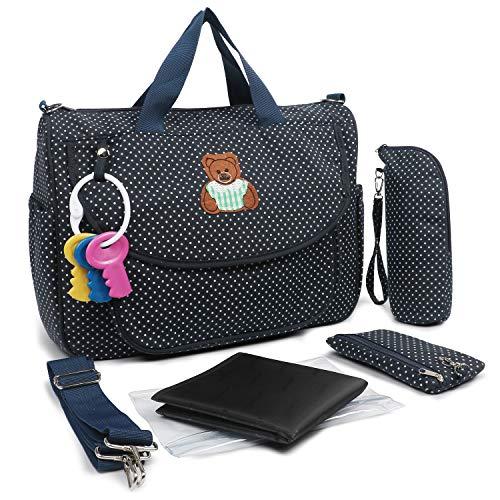 Baby Wickeltasche Tote Bag Schultertasche Handtasche für Mutter - inkl. wasserdichter Wickeltasche mit Wickelunterlage (schwarz)