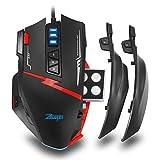 Zelotes C15 Gaming Maus 7000DPI mit 13 Programmierbare Tasten/ RGB LED/ Ergonomisches Design/ Gewichtstuning/ Groß/ Rechtshänder/ USB Wired Computer Maus - Schwarz