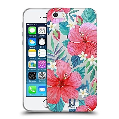 Head Case Designs Hibiscus Tropical Fleurs À L'aquarelle 2 Étui Coque en Gel molle pour Apple iPhone 5 / 5s / SE