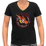 RACEFOXX V-Neck T-Shirt LADIES schwarz, Vintage Foxx Logo, Größe L