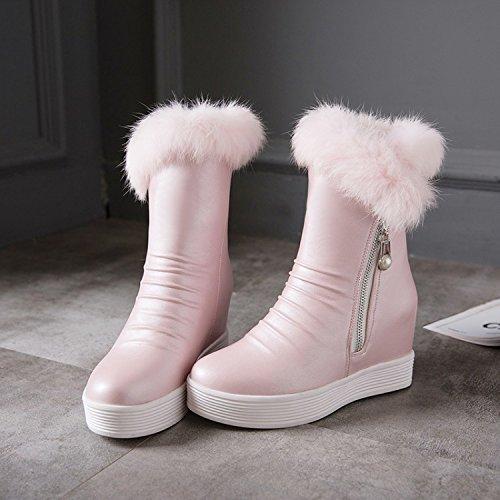 Best 4U® Scarpe da donna Primavera Premium in PU cm 3.5cm Tacchi alti Faux Pelliccia Gomma Gomma Sole Stivali Neve Nero Nero Round-toe pink