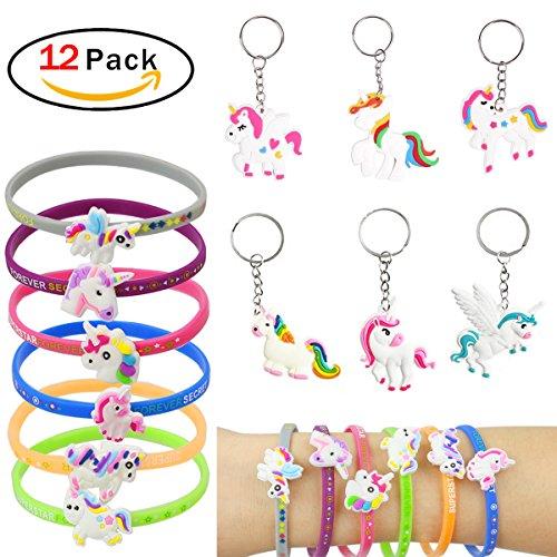Runfon Einhorn Armbänder Schlüsselbund für Birthday Party Supplies Gefälligkeiten, Fantasy-Spielzeug und Schulklasse Belohnungen - Pack von 12