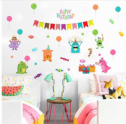 Abnehmbare Monster Candy Geburtstag Wandaufkleber Für Kinderzimmer Geburtstag Party Decor Wandtattoos Kühlschrank Aufkleber