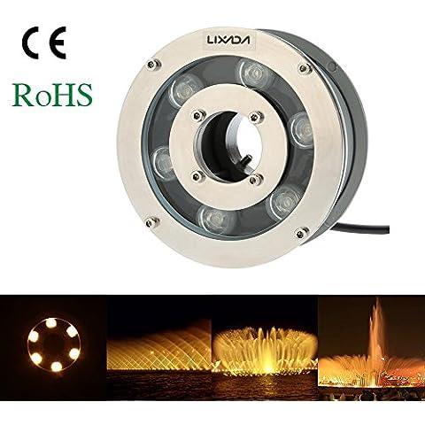 Lixada LED Foco Lámpara de Fuente Impermeable Al aire libre Piscina Submarino Paisaje 12V 5W 600-650LM IP68 blanco
