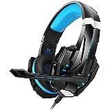 KOTION EACH GS900 Stereo PC Gaming Auriculares de Diadema Cerrados con microfono para Xbox 360 / PS3 / PS4 / PC Computer Laptop / Teléfonos Móviles con Luz LED(Azul+Negro)