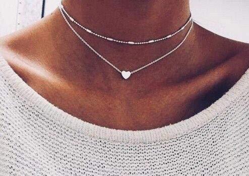 Damen Halskette mit kleinem Herz in Gold | Frauen Schmuck aus Edelstahl | Doppelkette mit Box als Geschenk Gold Hals