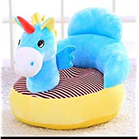SHOPICTED® Unicorn Shape Baby Soft Plush Cushion Baby Sofa Seat OR Rocking Chair for Kids(0 to 4 Years) - Blue