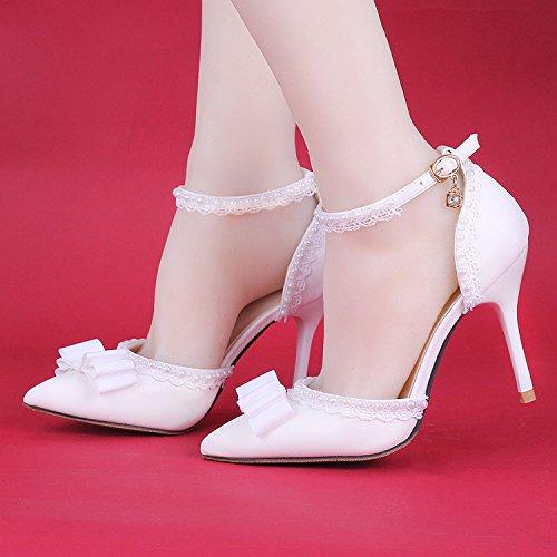 XIE Hochzeitsschuhe der Frauen / Brautjungfer und Braut / Spitze Perle / Stiletto Ferse / Spitzzehe / High-heels Sandalen / weiß 9CM