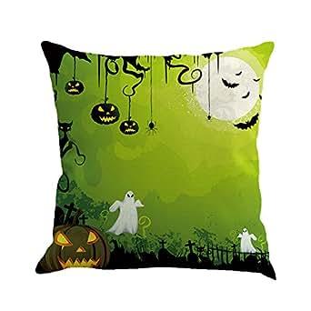 Cuscino di Halloween, Longra Cuscino cuscino cuscino in lino con stampa del castello di zucca (Multicolore_C)