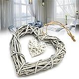 Corazón de mimbre Vanker para colgar, guirnalda de decoración para hogar, bodas y...