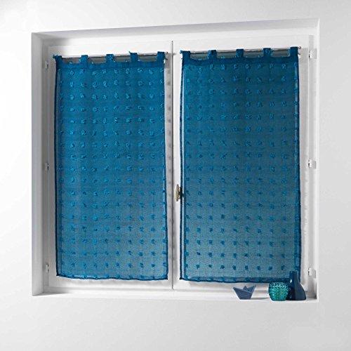 Douceur d' interno pomponi coppia destra passanti 2x 60x 160cm voile sabbia pompon pomponi poliestere, poliestere, blu, 160x60 cm