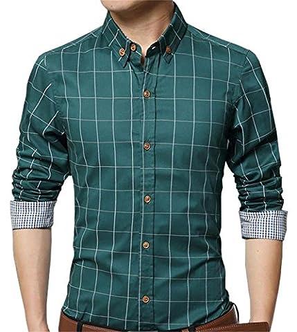AIYINO Herren Casual Hemd Slim Fit Langarm Shirts Freizeit Baumwolle 5 Farben Größen XS-XL (Large, Grün)