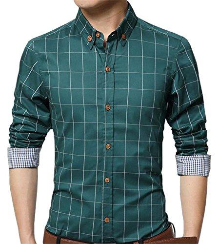 AIYINO Herren Casual Hemd Slim Fit Langarm Shirts Freizeit Baumwolle 5 Farben Größen XS-XL (X-Large, Grün)