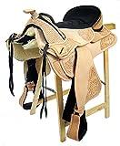 Baumloser Westernsattel UTAH ECO aus Büffelleder hoher Qualität, Größe:17 Zoll