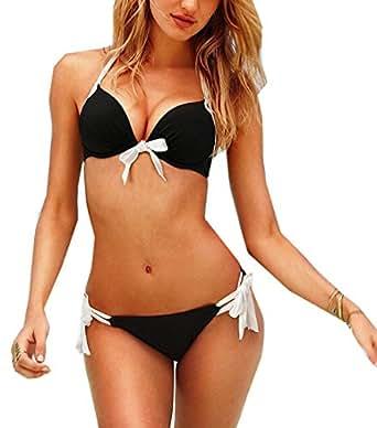 Transformee - Sexy Women Swimsuit Swimwear Bandeau Halter Bra Push up Bra Padded Bow Bikini Set Top and Bottom