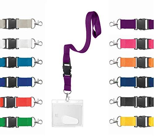 Karteo® Ausweishülle Hartplastik mit Schlüsselband lila   Kartenhülle horizontal mit Karabiner Band