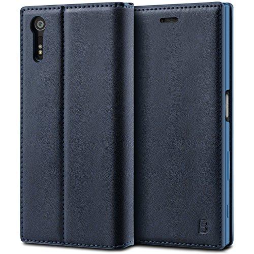 BEZ® Sony Xperia XZ / XZs Hülle, Handyhülle Kompatibel für Sony Xperia XZ / XZs Tasche, Flip Case Cover Schutzhüllen aus Klappetui mit Kreditkartenhaltern, Ständer, Magnetverschluss - Marine