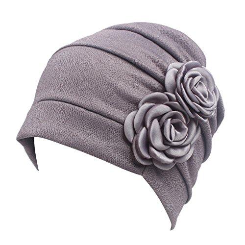 iShine Turban Femme Bandeau Fille Chapeau Musulman Islamique Bonnet Bouchon Fichu avec Deux Fleurs en Coton Spandex Taille Unique Perte de Cheveux Cancer Chimio Tas de Capuchon Gris