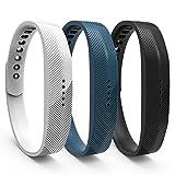 WindTeco Armband für Fitbit Flex 2 - [3 Stück] Weich Sportarmband Sport Band Uhrenarmband Uhr Erstatzband für Fitbit Flex 2 Smart Fitness Watch, Armbandlänge 140mm-170mm, Weiß, Schwarz, Marine