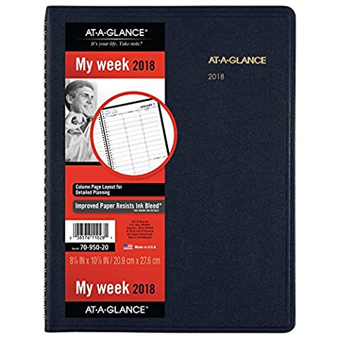 AT-A-GLANCE Weekly Appointment Book / Planner, January 2018 - January 2019, 8-1/4