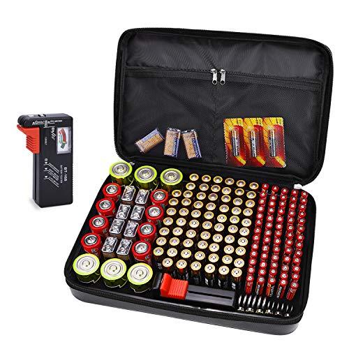 Aufbewahrungs Box Tamfile Batterie Organizer mit Batterietester BT-168 für 172 Batterien, feuerfeste und wasserdichte Tragetasche AA-AAA C D 9V (Batterien sind Nicht im Lieferumfang enthalten)